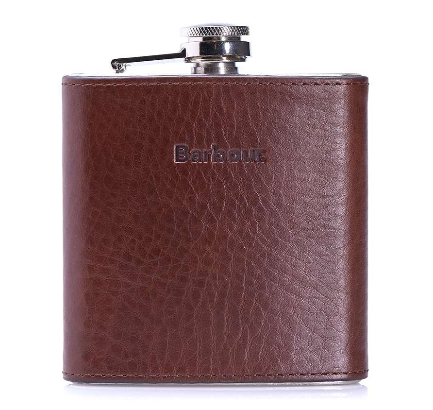 Leather Barbour Hipflask Gift