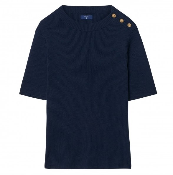 Marine Navy Blue Ribbed Gant Top