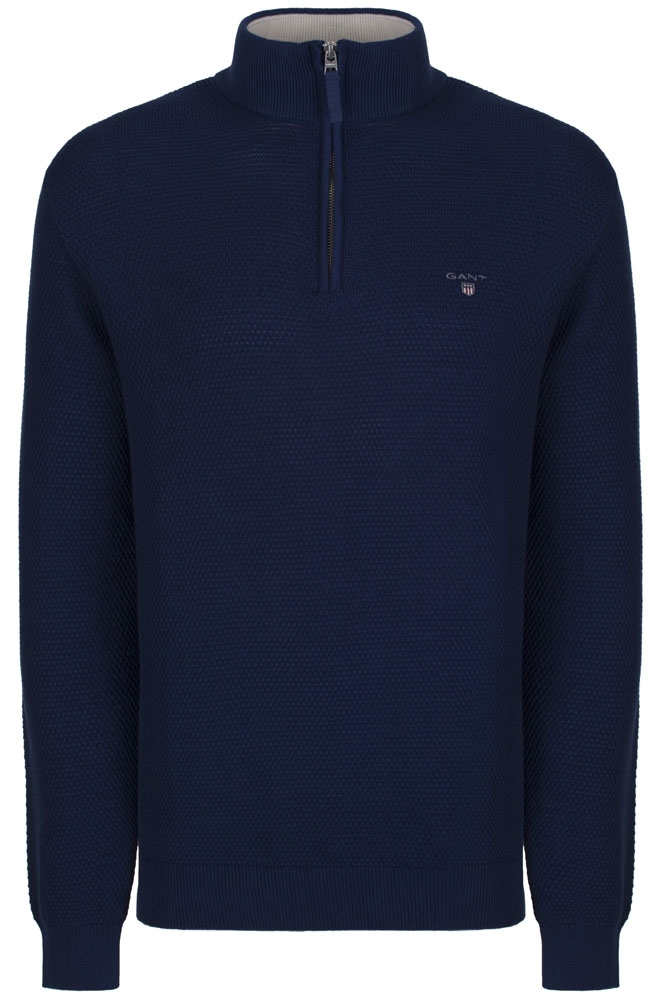 Navy Blue Gant Sweater in Textured Cotton