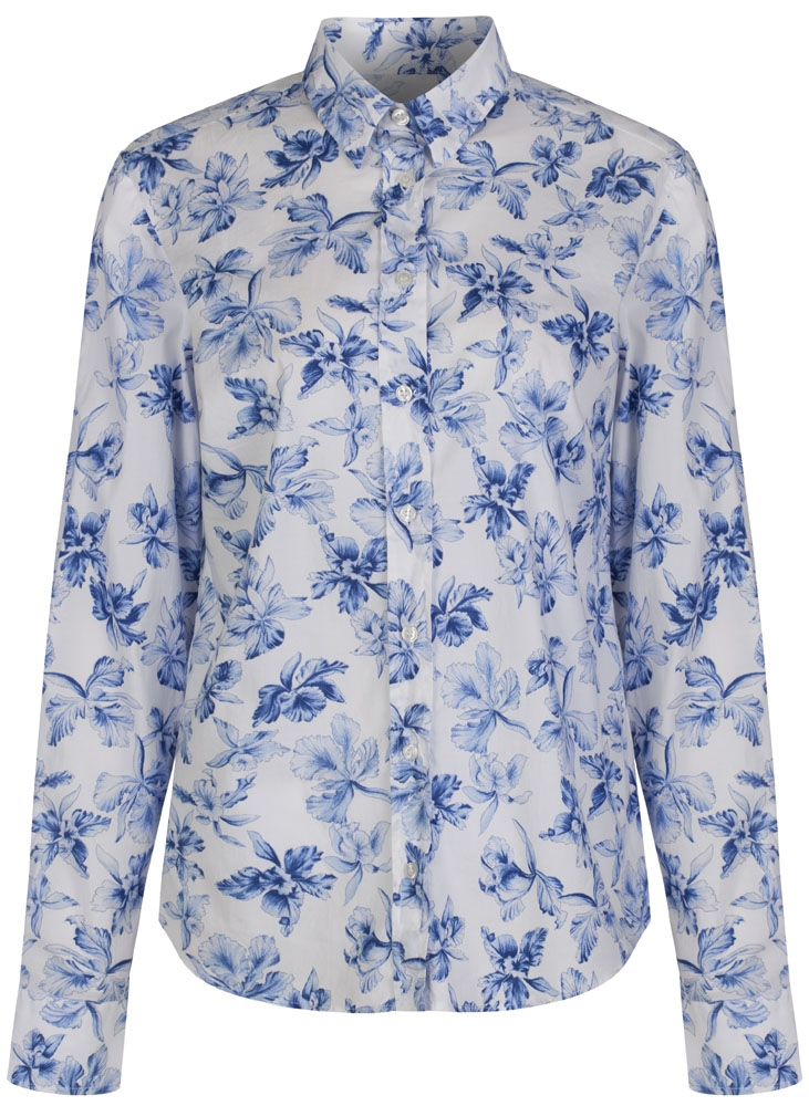 Yale Blue Large Flowered Gant Shirt in Stretchy Cotton Poplin