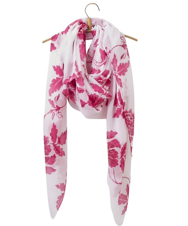 White and Pink Floral Joules Scarf