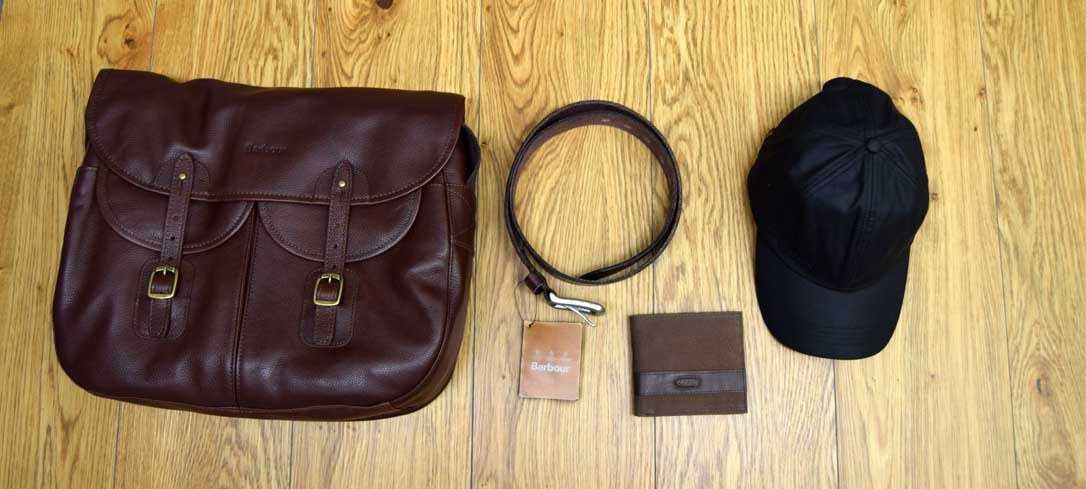 Men's Barbour bag, leather belt, wax sports cap, dubarry leather wallet