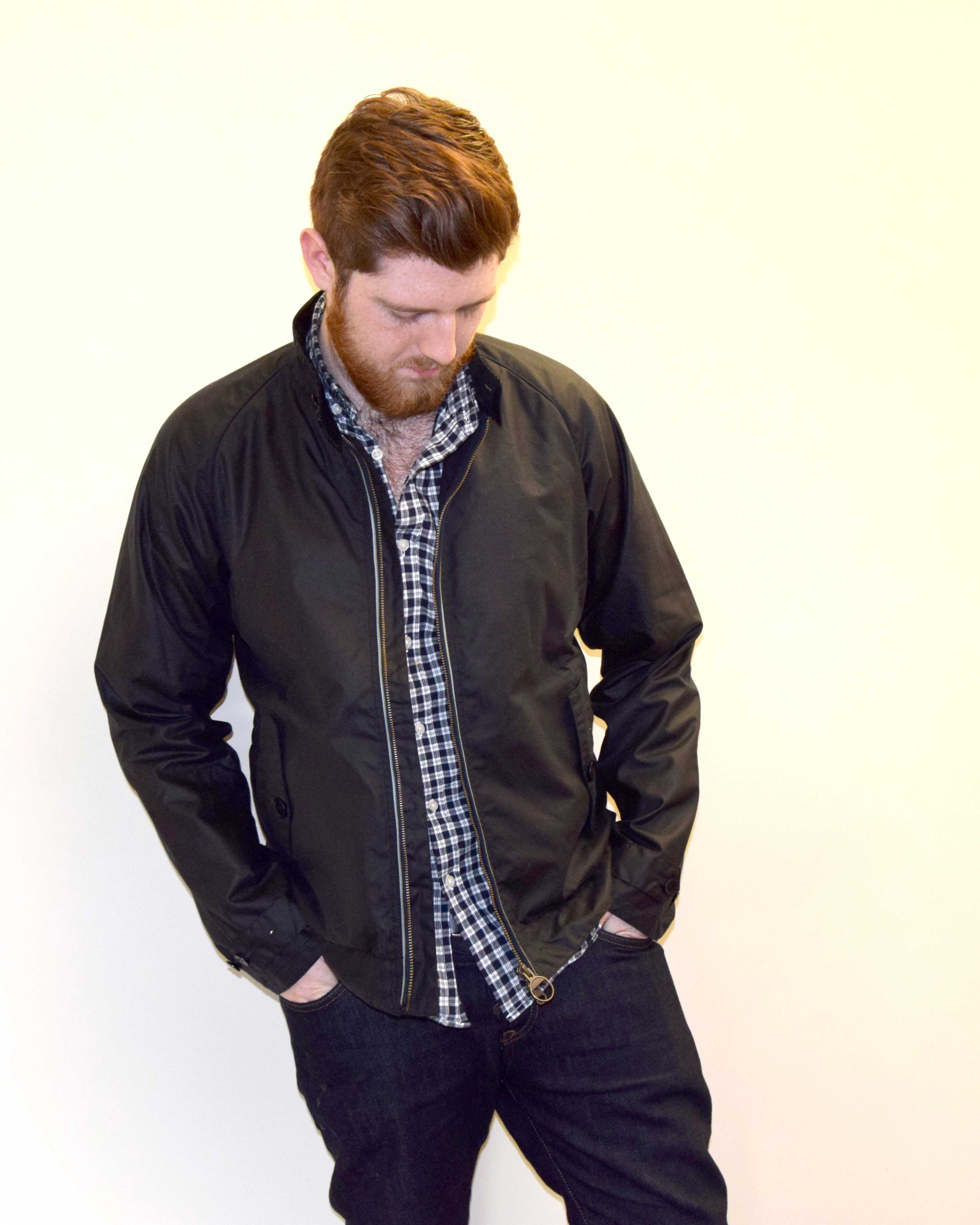 Men's Navy Barbour Harrington Slim Jacket