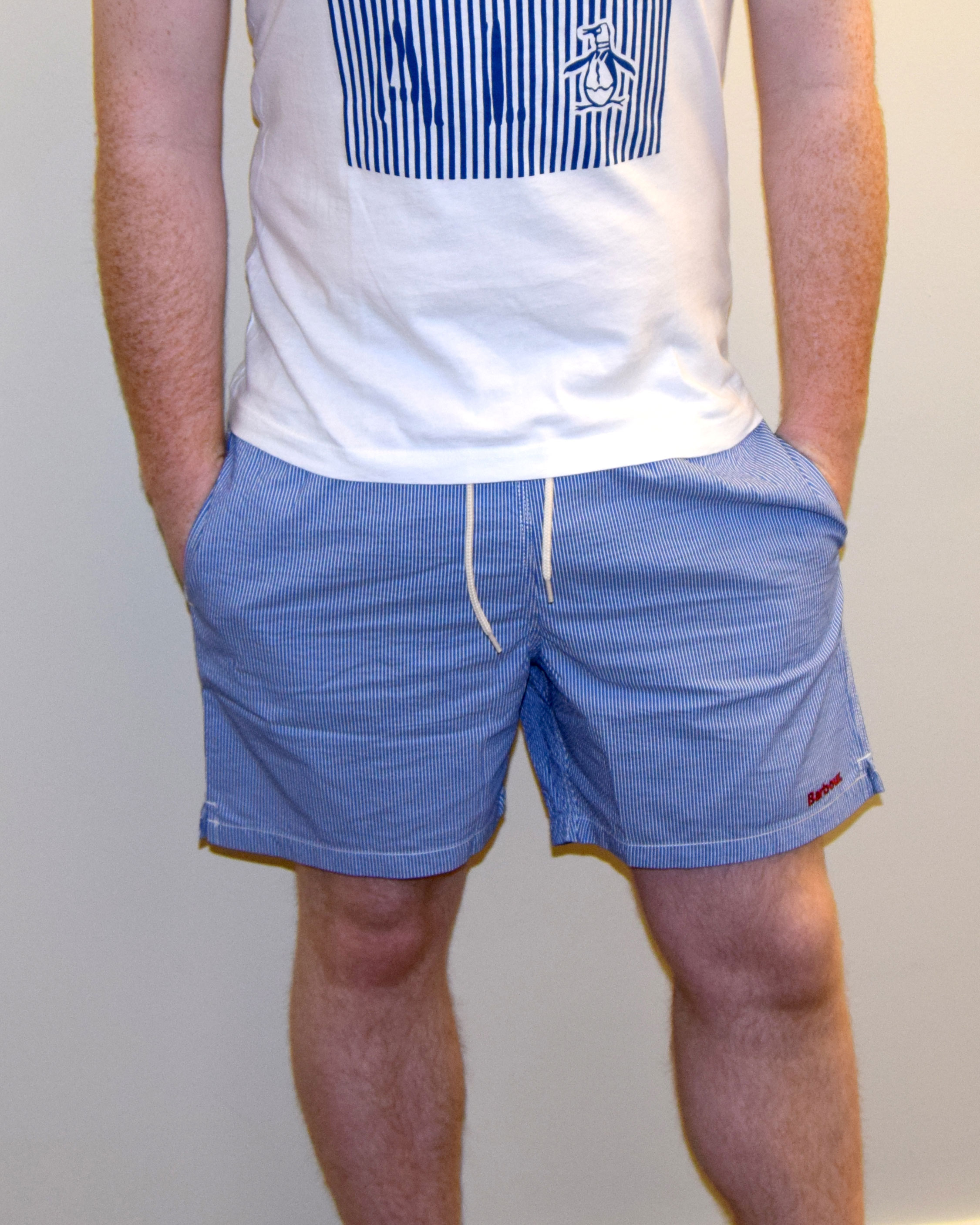 Men's Blue Striped Barbour Shorts