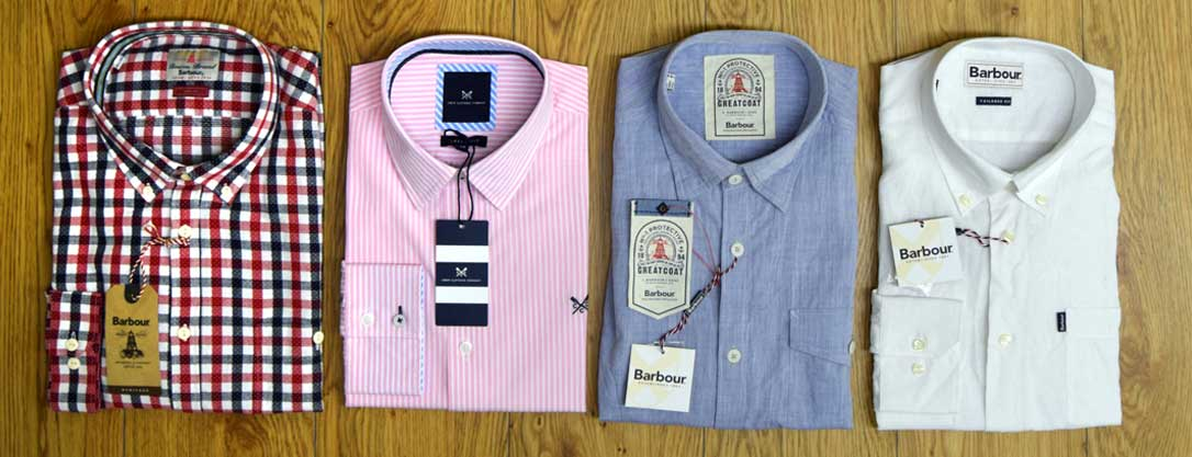 Pink Crew Shirt, Barbour Checked Shirt, White linen shirt, Barbour chambray shirt