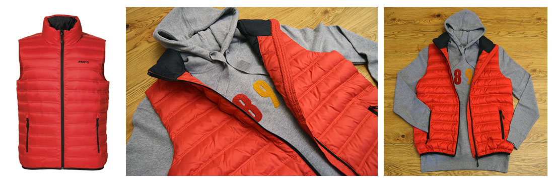 men's red gilet, musto sports gilet, men's barbour sweatshirt