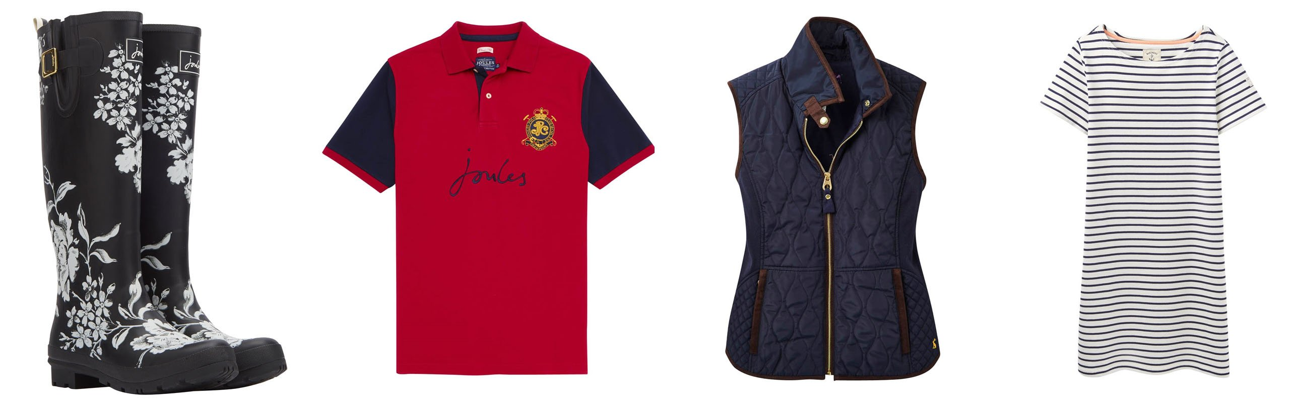 joules womens clothing, joules mens clothing, mens polo shirts, womens gilets, womens joules wellies, printed wellies
