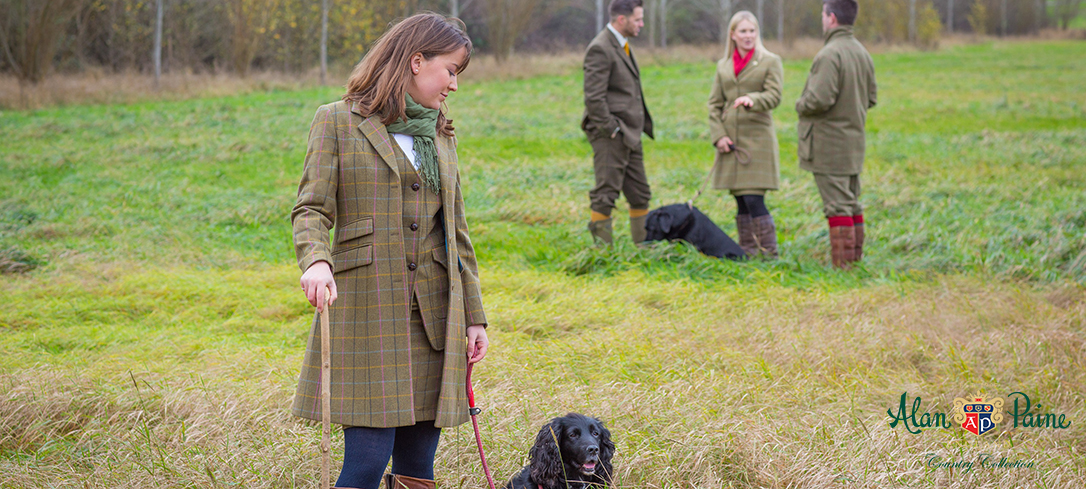 Alan Paine Compton Tweed Ladies Mid-Length Coat, Waistcoat & Skirt in Dark Olive